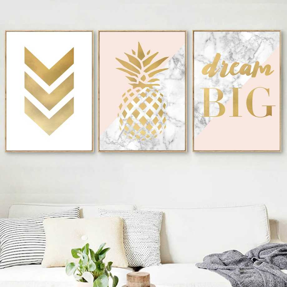 Geometric Pineapple & Marble Pattern Wall Picture