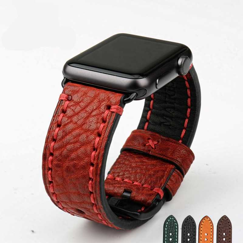 Stitched Leather Watch Band For Apple Watch