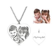 Heart Shaped Engraved Photo Necklace