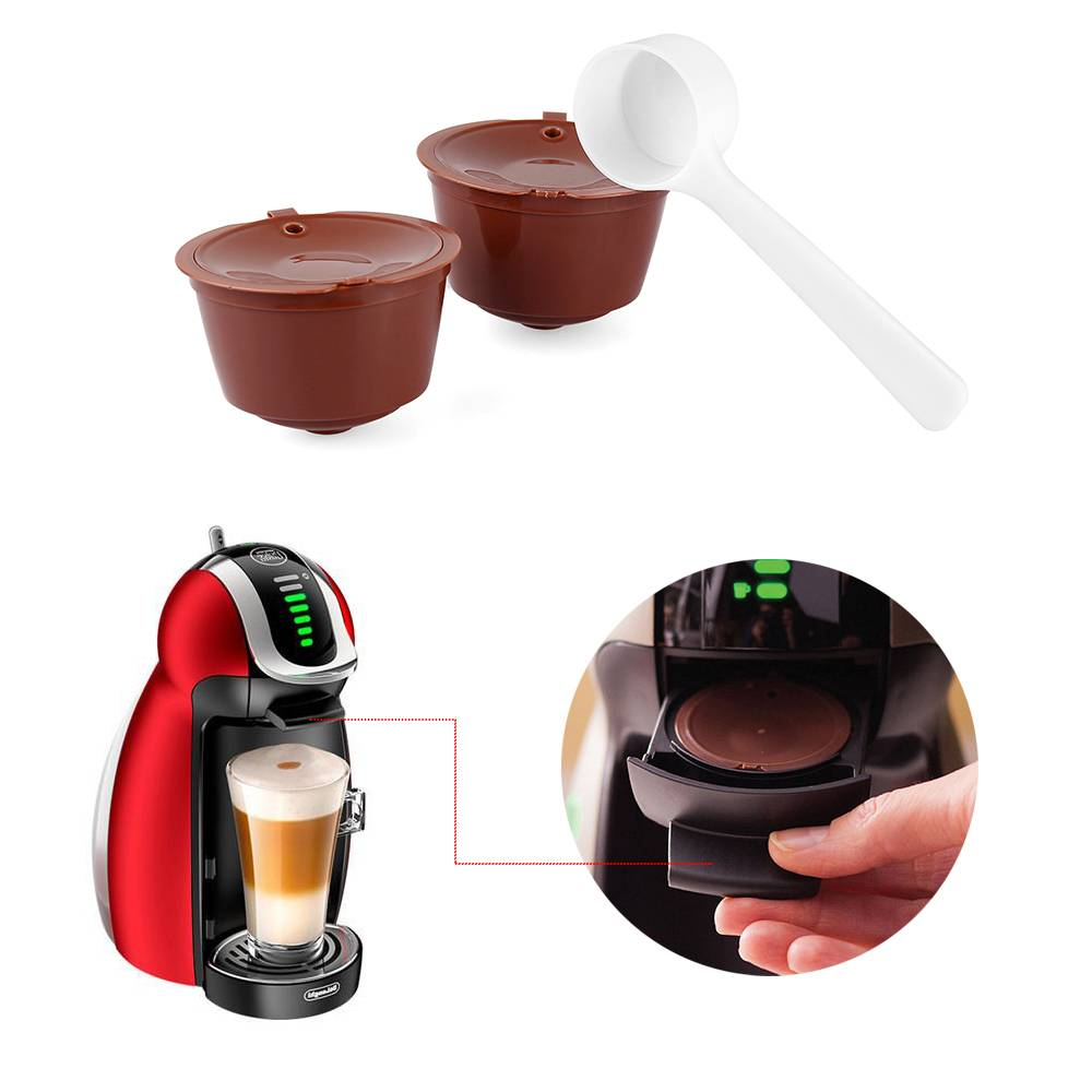 3 pcs Reusable Nescafe Dolce Gusto Coffee Capsule Filter Cup Refillable Caps Spoon Filter Baskets Pod Soft Taste Sweet